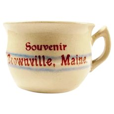 Souvenir Banded Yellow Ware Advertising Miniature Chamber Pot Potty Brownville, Maine ca. 1900-1920