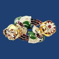 1938 Coro Camellia Quivering Trembler Rhinestone Duette Brooch Pin Collar Clips