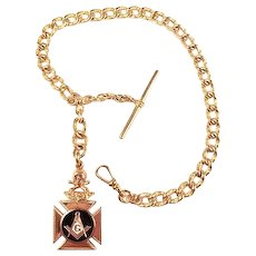 Masonic Double Sided Victorian Watch Fob & Chain Gold Filled ca. 1890's-1900 D & R