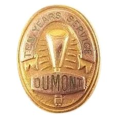 Dumont Labs Televisions Cathode Ray Tubes TV Stations Ten Years Service Pin 10K Gold ca. 1940's