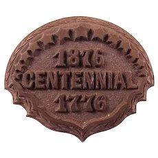 1876-1776 Philadelphia Centennial Souvenir Brooch Pin Gutta Percha Vulcanite