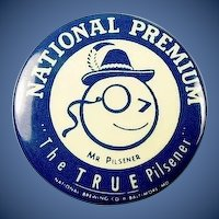 National Premium Brewery Beer Advertising Mr. Pilsner Baltimore, MD Pinback Button ca. 40's-50's