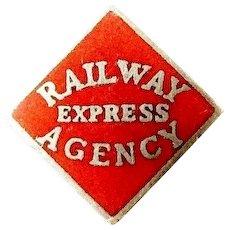 "Railroad Railway Express Agency Employees Company Pin ca. 1940's (5/8"" X 5/8"")"