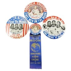 (4) Different Apollo 11 First Men On The Moon Souvenir Pinback Buttons July 20, 1969 50th Anniversary This Year!