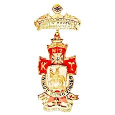 Masonic Knights Templar Commandery No. 2 New Haven, CT Knights Medal Named Dated