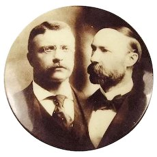 1904 Teddy Roosevelt and Fairbanks Sepia Tone Photograph Presidential Campaign Pinback Button 1-1/4""