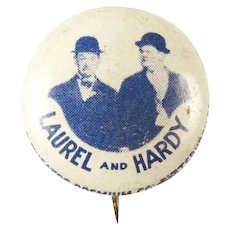 Laurel and Hardy Movies and Comedy Team Pinback Button Lithograph ca. 1930's