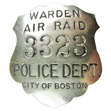 WWII Air Raid Warden Police Dept. City of Boston Badge