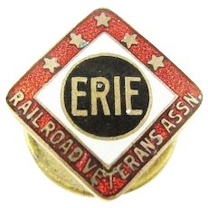 Erie R.R. Railroad 25 yrs. Service Pin ca. 1910s-1920s