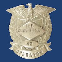 The Gray Line Bus Company Operator Cap Insignia Badge #40 ca. 1940s-50s