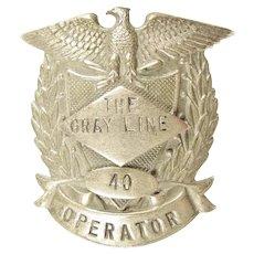 The Gray Line Bus Company Operator Cap Insignia Badge #40 ca. 1940s-50s