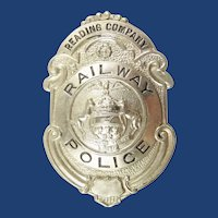 Reading Company Railroad Railway Police Badge ca. 1930's-40's