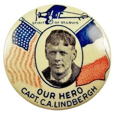 "Our Hero Capt. C. A. Lindbergh Spirit of St. Louis 1-1/4"" Souvenir Pinback Button 1927"