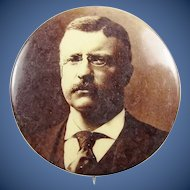 1904 Sepia Tone Teddy Roosevelt Campaign Presidential Political Pinback Button 1-3/4""