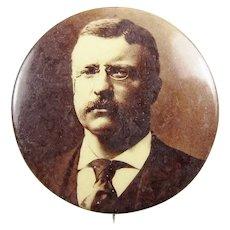 "1904 Sepia Tone Teddy Roosevelt Campaign Presidential Political Pinback Button 1-3/4"""