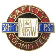 Norfolk & Western Railway Safety Award Pin ca. 1900's-1920's