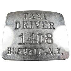 Buffalo N.Y. Taxi Driver Breast Badge #1408 ca. 1950's-60's