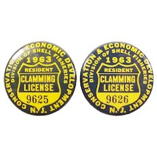 (2) 1963 New Jersey Clamming License Badges Consecutive Numbers!