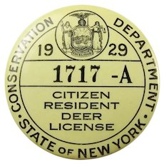 1929 State of New York Citizen Resident Deer License #1717-A