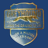 Greyhound Bus Lines Drivers Hat Badge ca. 1950s-1960s