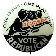 1932 One Issue-One Platform Recovery Vote Republican (Herbert Hoover) Campaign Pinback Button