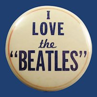 "Original 1964 I Love the ""Beatles"" Concert Souvenir Pinback Button"