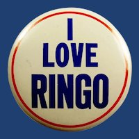 Original 1964 The Beatles I Love Ringo Concert Souvenir Pinback Button