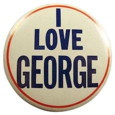 Original 1964 The Beatles I Love George Concert Souvenir Pinback Button