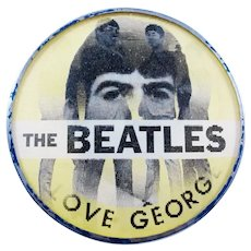 Original 1964 The Beatles I Love George Yellow Vari-Vue Flasher Pinback Button Dated & Personalized