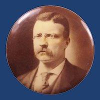 "1904 Teddy Roosevelt Campaign Presidential Political Pinback Button Sepia-Tone 1-3/4"""