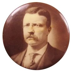 1904 Teddy Roosevelt Campaign Presidential Political Pinback Button Sepia-Tone 1-3/4""
