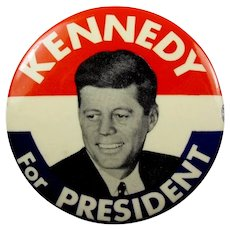 "1960 Kennedy For President Red, White, and Blue Pinback Button 2-1/2"" Slater N.Y.C."