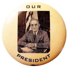 """1948 Harry S. Truman Our President Democratic Campaign Pinback Button 3-3/16"""" Rare!"""