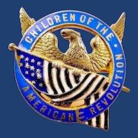 DAR Children Of The American Revolution Members Pin Badge (Name & Number) Caldwell Silver ca. 1900-20