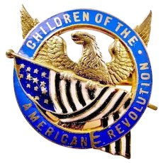 DAR Children Of The American Revolution Members Pin Badge (Name & Number) Caldwell Silver ca. 1900-20