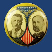 1904 Roosevelt Fairbanks Jugate Celluloid Political Campaign Pinback Button Pulver