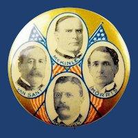 1900 McKinley & Roosevelt Quadragate Republican Political Campaign Pinback Button Minnesota rare