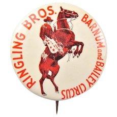 Ringling Bros. Barnum and Bailey Circus Advertising Souvenir Pinback Button 1930's-40's