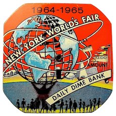1964-1965 New York World's Fair Advertising Souvenir Dime Bank