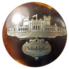 1876 US Centennial Exposition Philadelphia Tortoise & Silver Inlay Souvenir Lapel Stud
