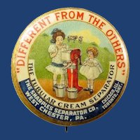 The Sharples Separator Co. Tubular Cream Separator Advertising Pinback Button ca. 1898-1900
