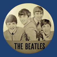 Original & Scarce 1964 The Beatles Souvenir Pinback button 3-1/2""