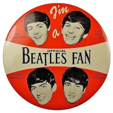 "1964 I'm A Official Beatles Fan 4"" Lithographed Pinback Button Original!"