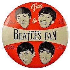 "1964 I'm A Official Beatles Fan 4"" Lithographed Pinback Button Original!"