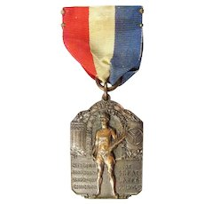1925 July 4th (Sports) A.A.U. And A.A.F. Athletic Meet Award Medal Engraved Women Basketball Throw Sr.