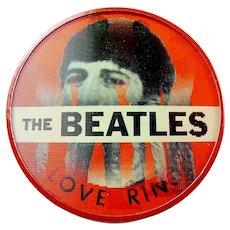 Original 1964 The Beatles I Love Ringo Vari-Vue Flasher Scarce Red On Red Pinback Button