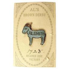 1928 Al Smith Al's Brown Derby Enameled Democratic Donkey with Derby Presidential Pin Original Card