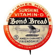 "Amelia Earhart Airplane ""Friendship"" Bond Bread Advertising Premium Pinback Button 1930's"