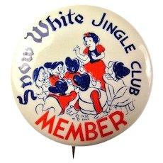 Disney Snow White Jingle Club Member Advertising Premium Pinback Button 1938