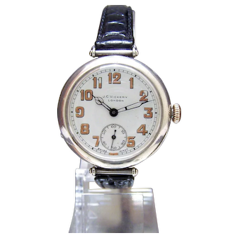 Antique 1918 Solid Silver Military LONGINES Trench Watch WW1 could be Anglo Irish war